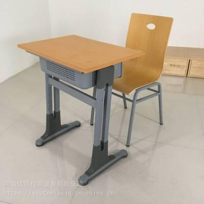 吉林校用钢木课桌椅 国标尺寸学校用单人课桌椅