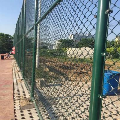 篮球场勾花护栏网 定制深绿色球场围网优盾金属网