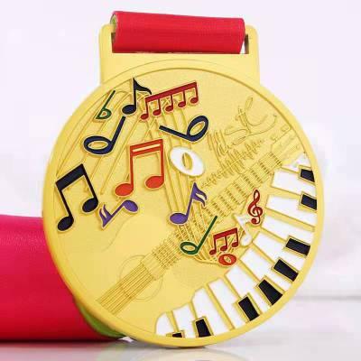 钢琴比赛奖牌锌合金材质烤漆工艺免费设计