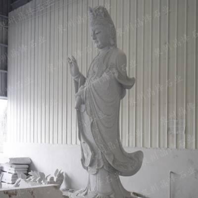 石雕三面观音佛像 莲花送子观音图 四面观音 大理石汉白玉石材加工雕刻
