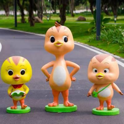 珠海玻璃钢卡通萌鸡小队雕塑 户外公园动物卡通雕塑 益丰玻璃钢