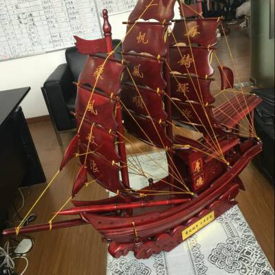 广东一帆风顺船 红木工艺礼品 招财龙船木质摆件 开业乔迁商务礼品
