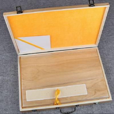 4号45*32cm香樟木宣纸生宣卡纸册页实木盒书法字画礼盒