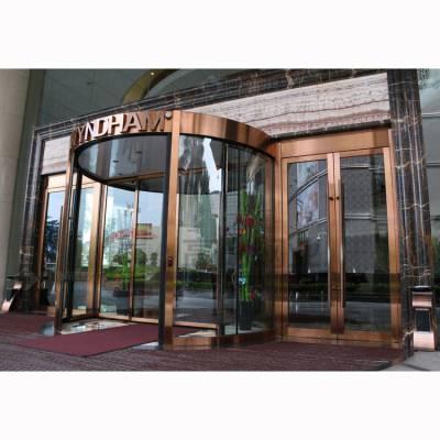 304拉丝红铜不锈钢旋转门 酒店装饰 可含玻璃安装
