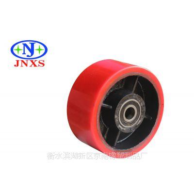 脚轮厂家直销 京南橡塑 10寸聚氨酯平顶脚轮单轮万向定向刹车轮