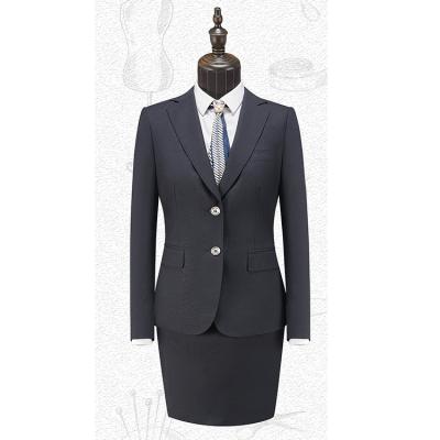 贵州女西装量体定做 职业装团购批发 QNY8088藏青色80%羊毛千鸟格平驳头单排两粒扣女西服