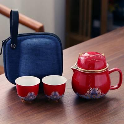 珐琅彩便携式色釉陶瓷办公杯 招财猫茶水分离茶杯 过滤泡茶杯子礼品