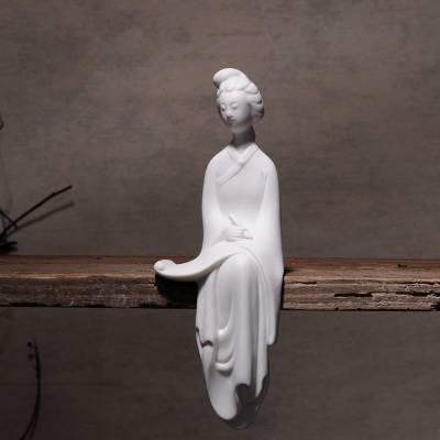 景德镇陶瓷白瓷古典仕女雕塑瓷 家居创意琴棋书画工艺摆件