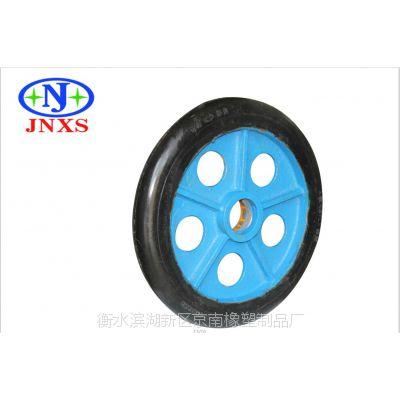 京南橡塑 厂家直销 12寸05孔高弹力GTL圆顶橡胶单轮黑色
