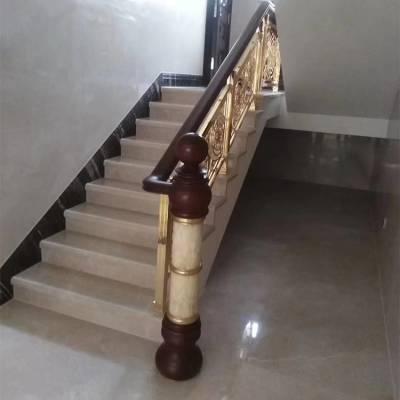 南昌铜艺楼梯梨花扶手铜雕刻楼梯 图案富贵花开