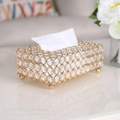 网红新款欧式金色纸巾盒抽纸盒 家居金属纸巾盒摆件