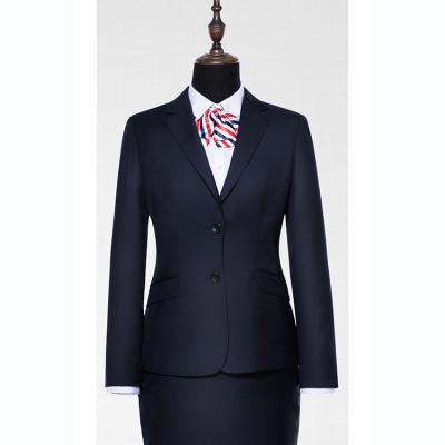 贵州管理服订做贵阳西装职业装定制***女西服定制GY51206藏青色50%羊毛毛涤面料西装
