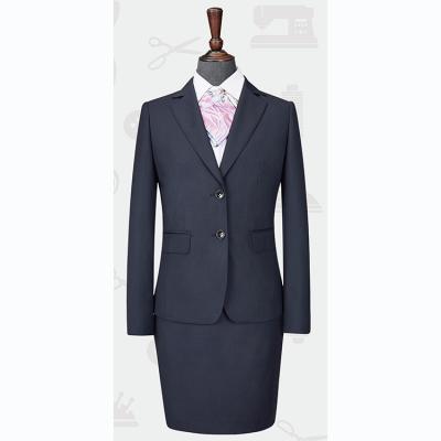 定做贵州职业装 修身女西服 商务西装 毛料西服 LNY-100703藏青色暗条纹70%羊毛西服1