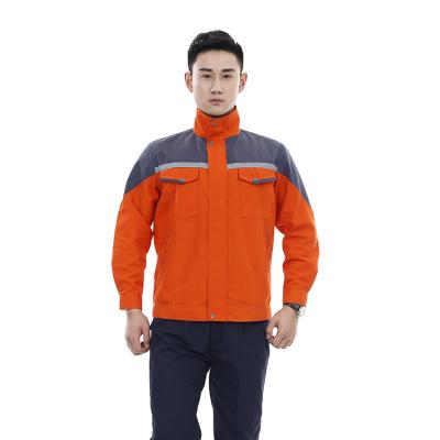 贵州工程服定做夹克批发工程服订制JINYT-1811201橙色涤棉混纺反光条单层夹克普通工装