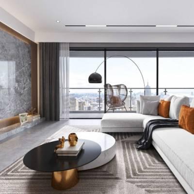 重庆壹号半岛大平层设计,壹号半岛品质现代简约风格装修效果图