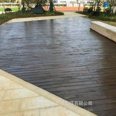 别墅庭院地板户外现代风格防腐木地板空中花园樟木地板泳池亲水平台施工