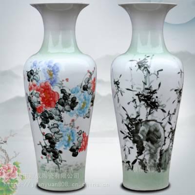 陶瓷手绘彩葡萄青竹大花瓶 1米2落地大花瓶 会所别墅摆件