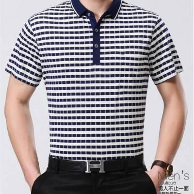 广州中老年人服装批发市场中老年男装爸爸装夏季短袖T恤男士翻领冰丝T恤批发货源