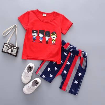 河南许昌3元货源厂家一手儿童套装短T ***服装城处理***童杂款短袖套装