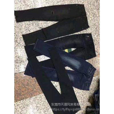 2018广东增城牛仔长裤批发 工厂一手货源女士牛仔长裤 低至几元一条清仓处理