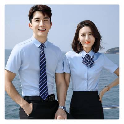 男女同款短袖衬衫 4S店房地产正装衬衣品牌折扣