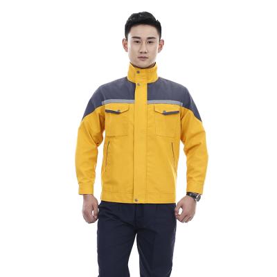 贵州工程服定做反光工作服批发团购JINYT-1811300黄色涤棉混纺面料普通工装