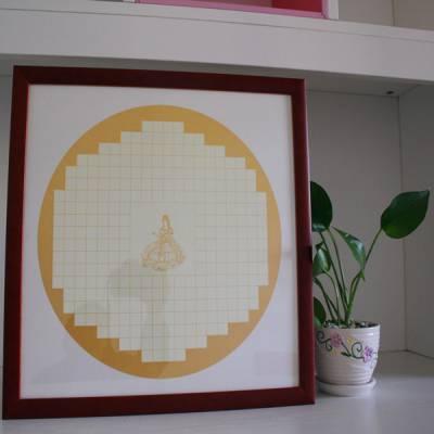 38*38cm 般若波罗密多心经卡纸正方形实木字画装裱画框书法框