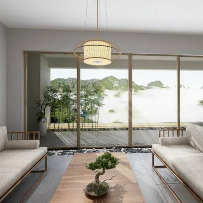 龙湖紫云台装修,紫云台洋房装修效果图,新中式风格设计方案