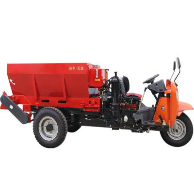 三輪撒肥車 農用小型三輪撒糞車 雙鏈排的撒肥車廠家
