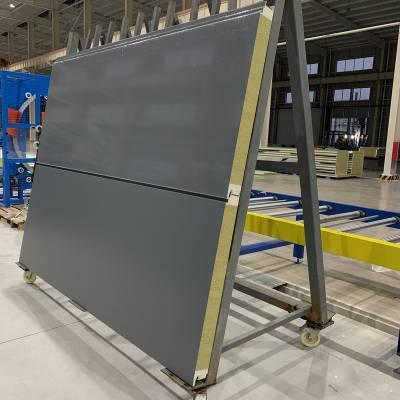1000宽金属面聚氨酯双侧封岩棉夹芯板横向安装