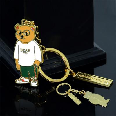 金属钥匙扣定制 锌合金创意卡通熊珐琅钥匙挂饰 旅游纪念钥匙扣