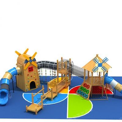 儿童乐园定制滑梯 非标木质滑梯设施 幼儿园绳网攀爬设施